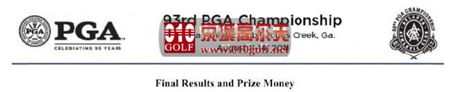 【球员新闻】2011 PGA 锦标赛 吸金榜