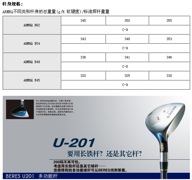 U-201铁木杆(四星)_高球工坊新品球具发布