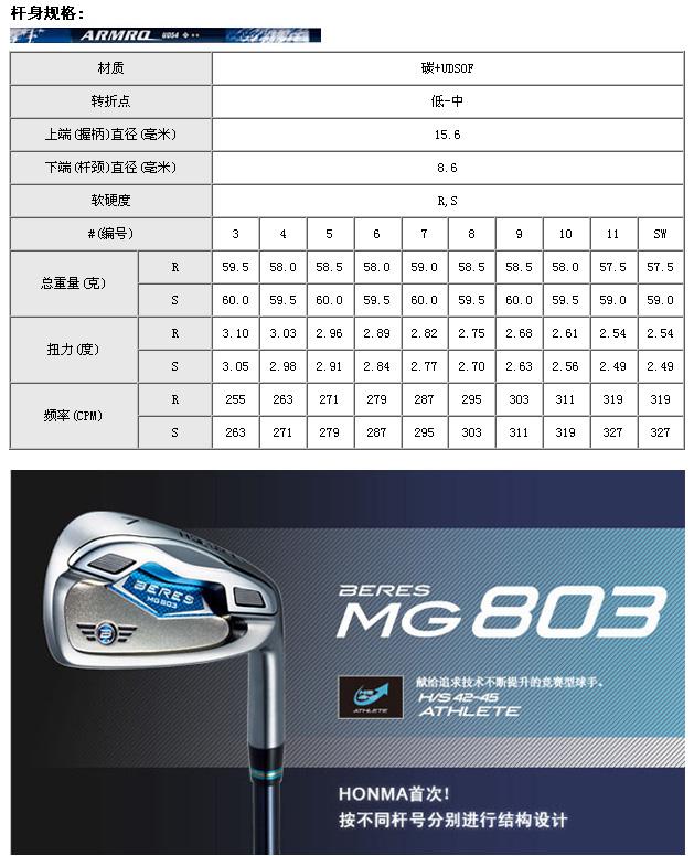 MG803铁杆(四星)_高球工坊新品球具发布